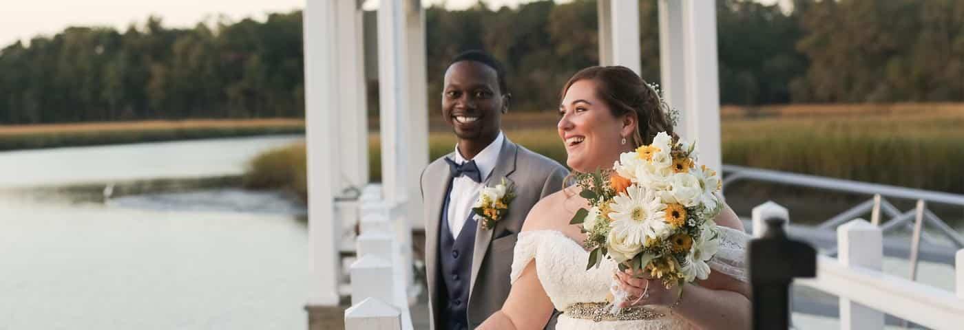 Couple loving their coastal wedding in Charleston SC