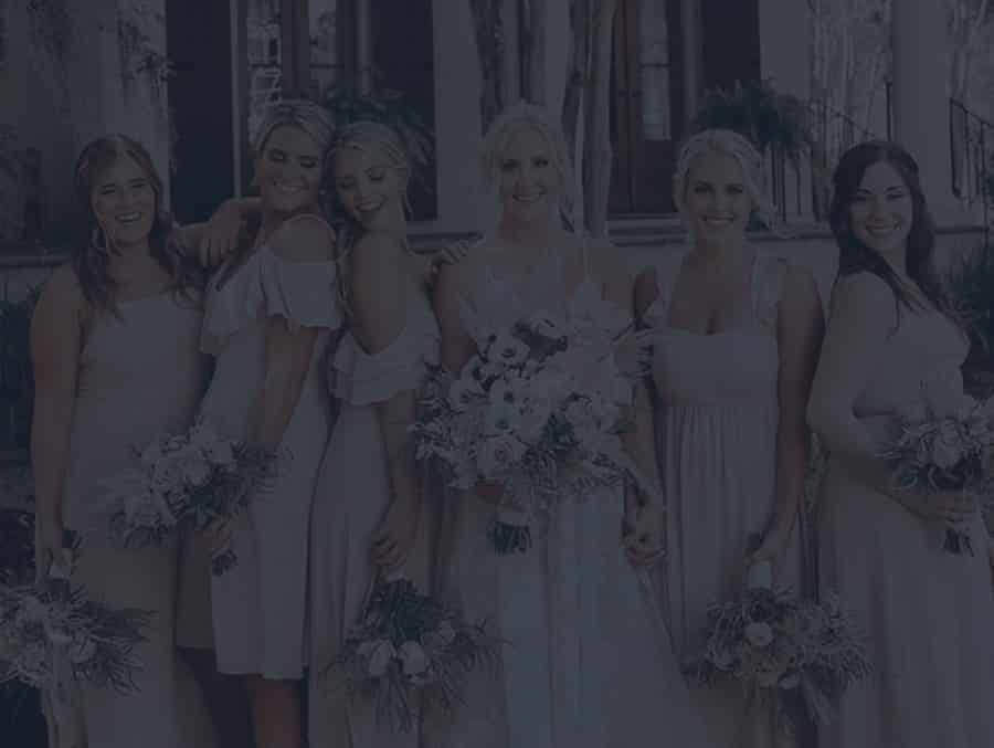 Bridal party posing for photo at the perfect wedding in Charleston SC